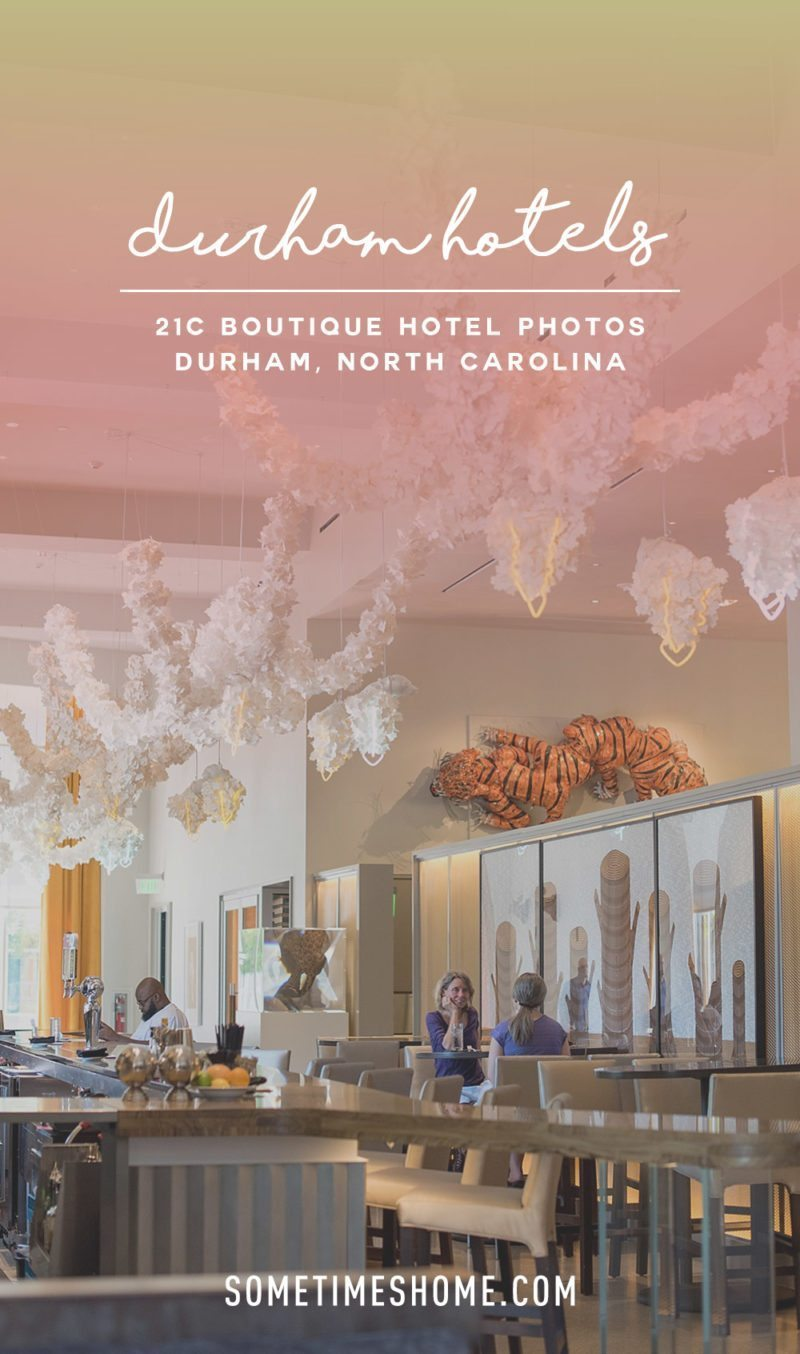 21c Durham North Carolina Boutique Hotel photos with rotating art exhibits. Photos by Sometimes Home travel blogger. Mikkel Paige.