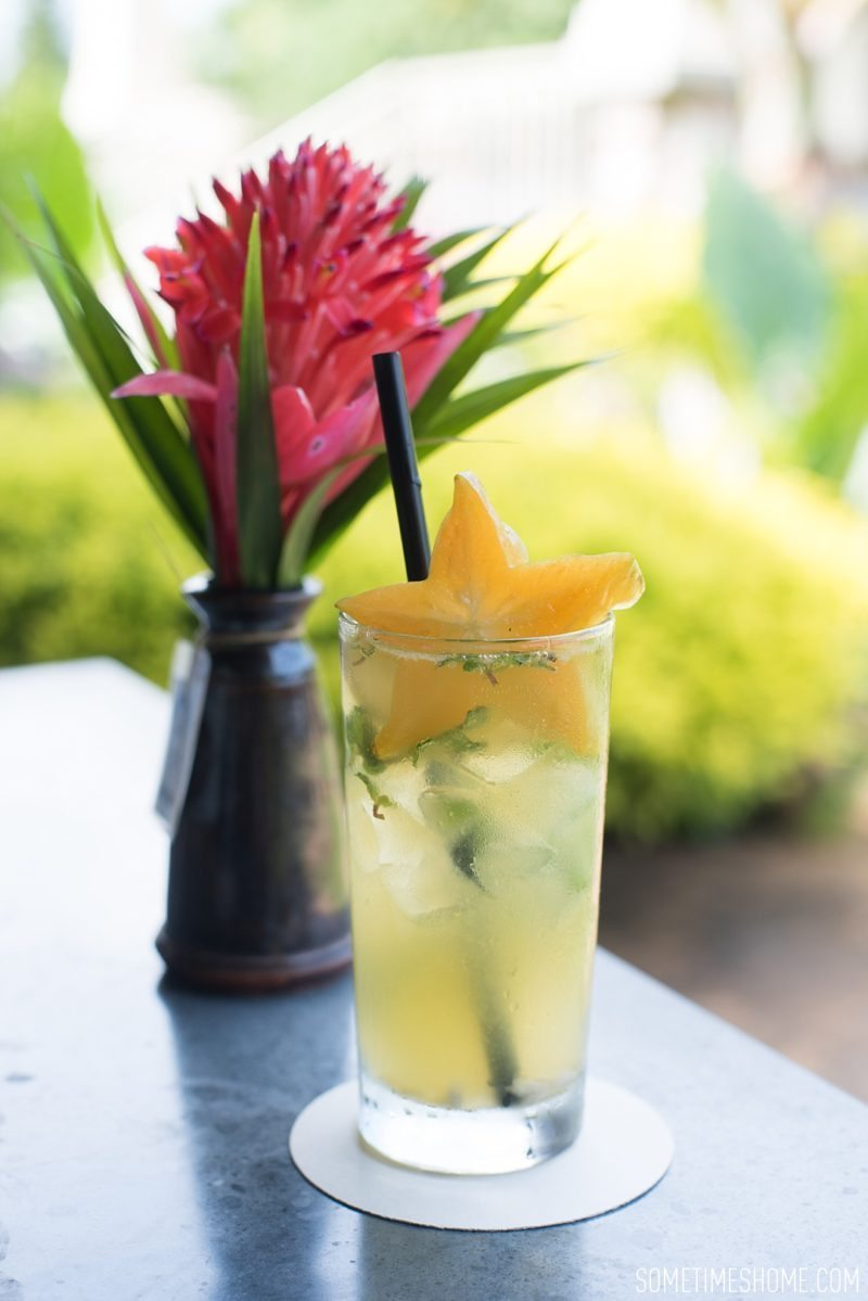 Kilohana Estate photos in Kauai by Sometimes Home travel blog, and professional photographer Mikkel Paige. Passionfruit cocktail with a slice of starfruit for an afternoon cocktail.