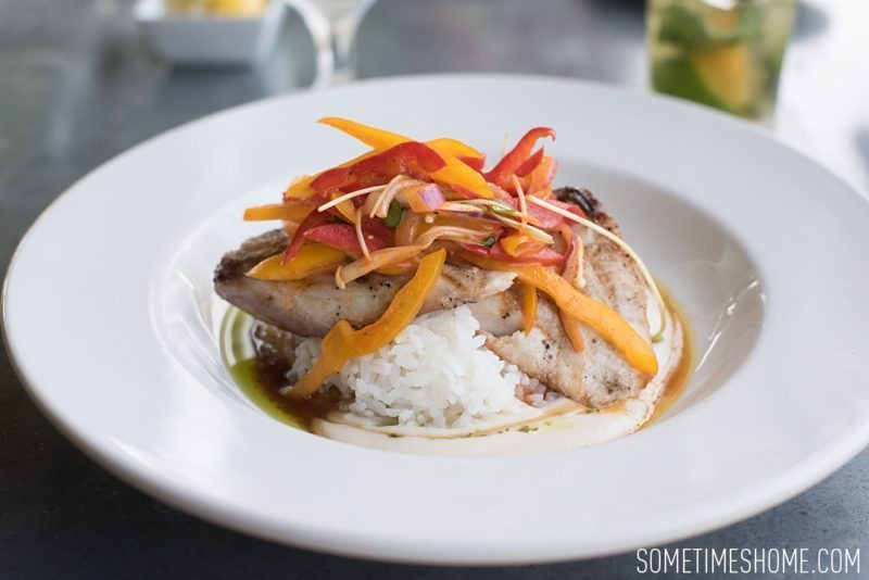 Kilohana Estate photos in Kauai by Sometimes Home travel blog, and professional photographer Mikkel Paige. Fish and rice dish for lunch.
