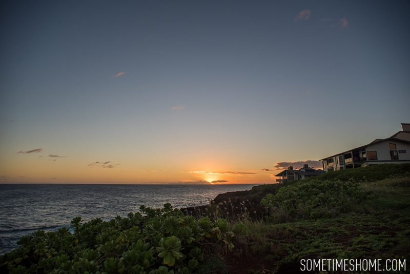 Koloa Heritage Trail photos on the south end of Kauai, Hawaii. Image of the trail sunset on Sometimes Home travel blog, by Mikkel Paige.
