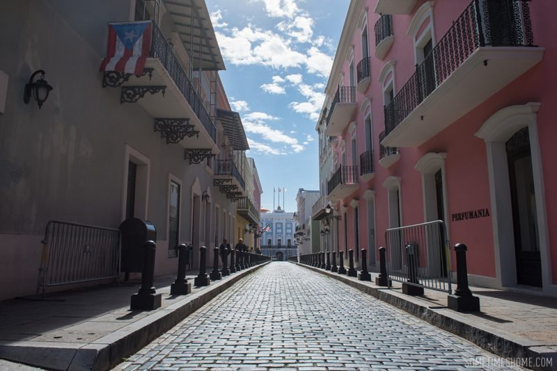 Three things to do in Puerto Rico travel post on Sometimes Home blog for travel tips and information. Photos of downtown old San Juan.