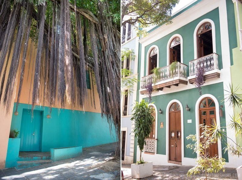 Three things to do in Puerto Rico travel post on Sometimes Home blog for travel tips and information. Photos of the colorful streets of old San Juan.
