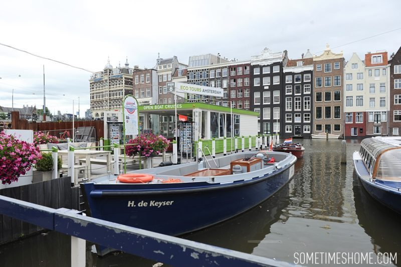 Things to do in Amsterdam besides smoking pot by travel blog Sometimes Home. Open air canal boat tour option.