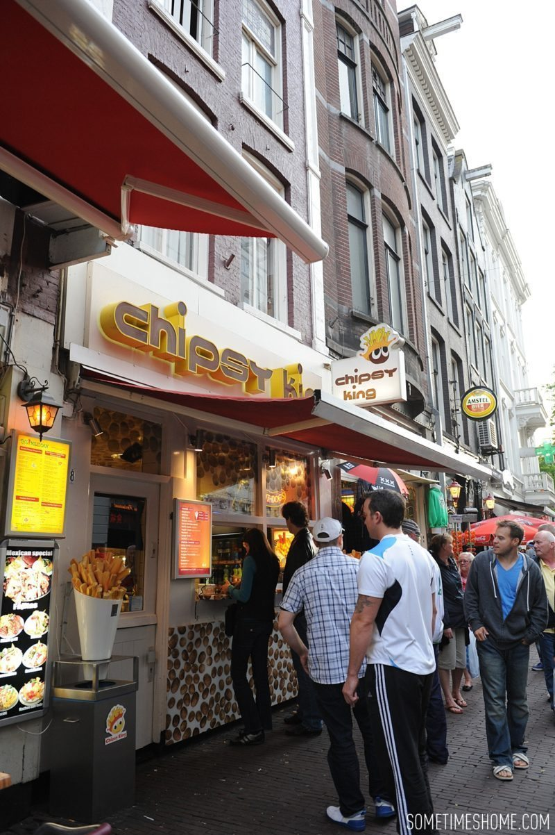 Things to do in Amsterdam besides smoking pot by travel blog Sometimes Home. Chipsy King is a great french frie vendor around the city with a variety of condiment options from mayonnaise to curry ketchup.