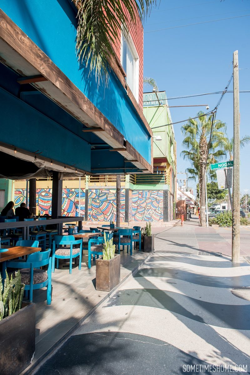 Photo spots at Rosarito beach by travel blog Sometimes Home. Festival plaza is colorful and picturesque.