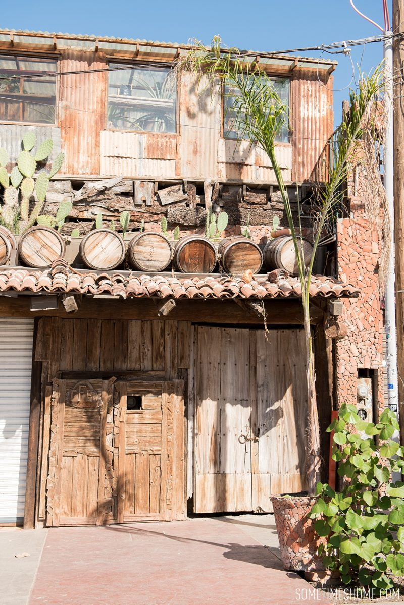 Photo spots at Rosarito beach in Baja California, Mexico, by travel blog Sometimes Home, including the exterior of El Nido restaurant.