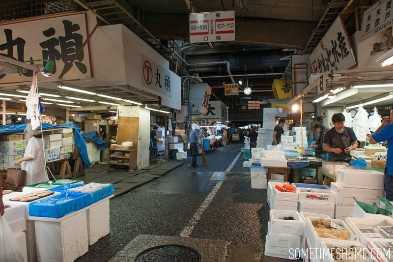 Experience and photos at Tsukiji Fish Market in Tokyo, Japan by Sometimes Home Travel Blog. Picture of the interior of the fish market.