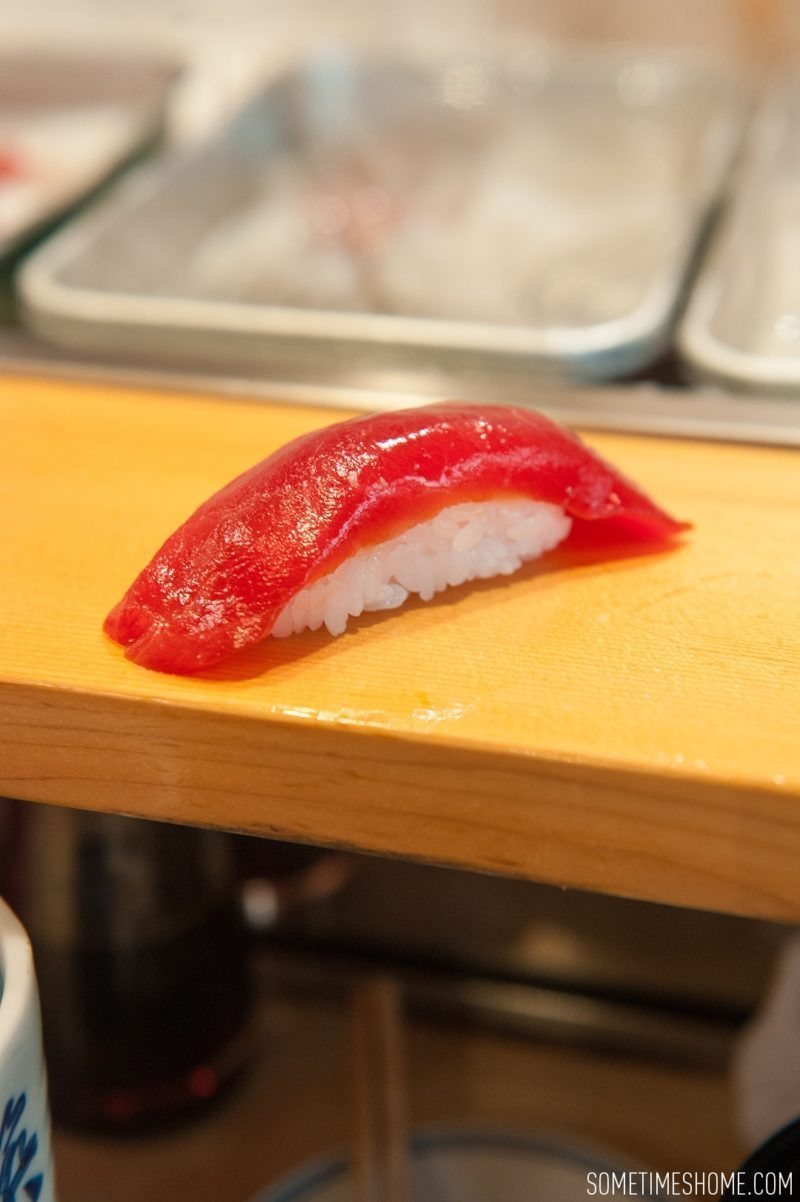 Sushi Dai Restaurant at Tsukiji Fish Market in Tokyo Japan. Photos on Sometimes Home travel blog with a picture of lean tuna.
