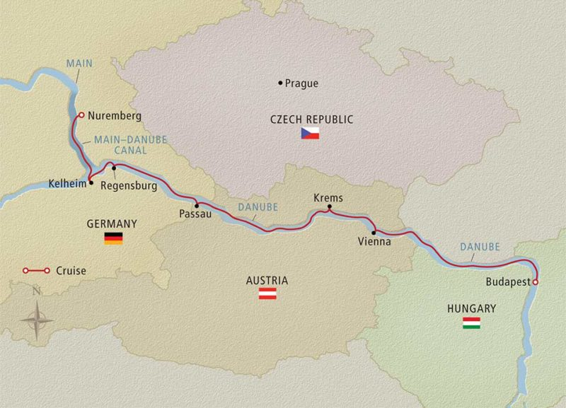 Romantic Danube Viking River Cruises map on Sometimes Home Travel blog, taken from the Viking website.
