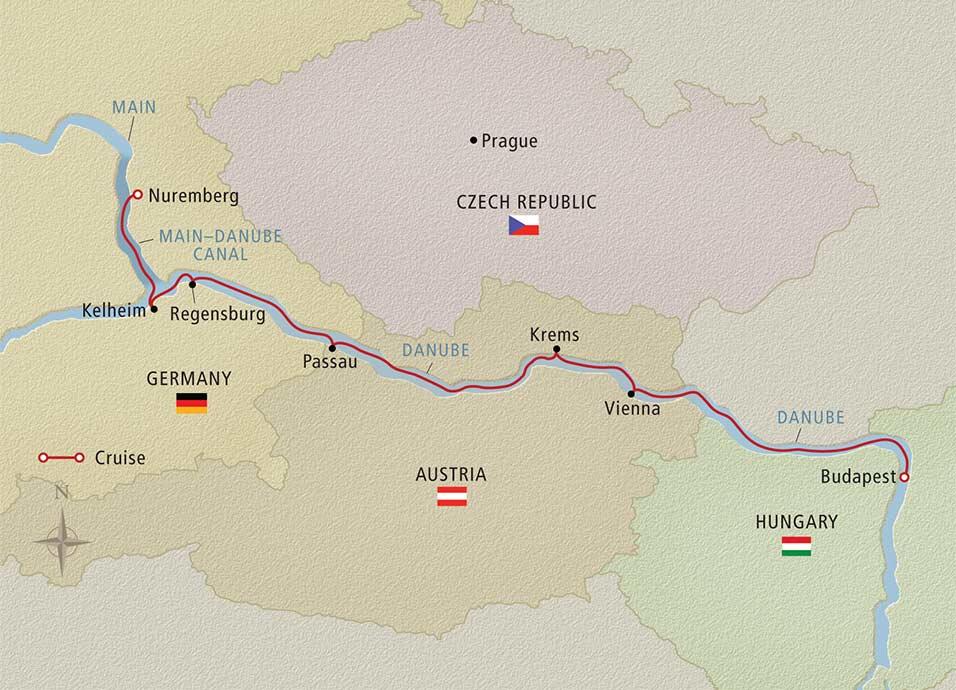 Romantic Danube Viking River Cruises map on Sometimes Home Travel blog, taken from the Viking website.