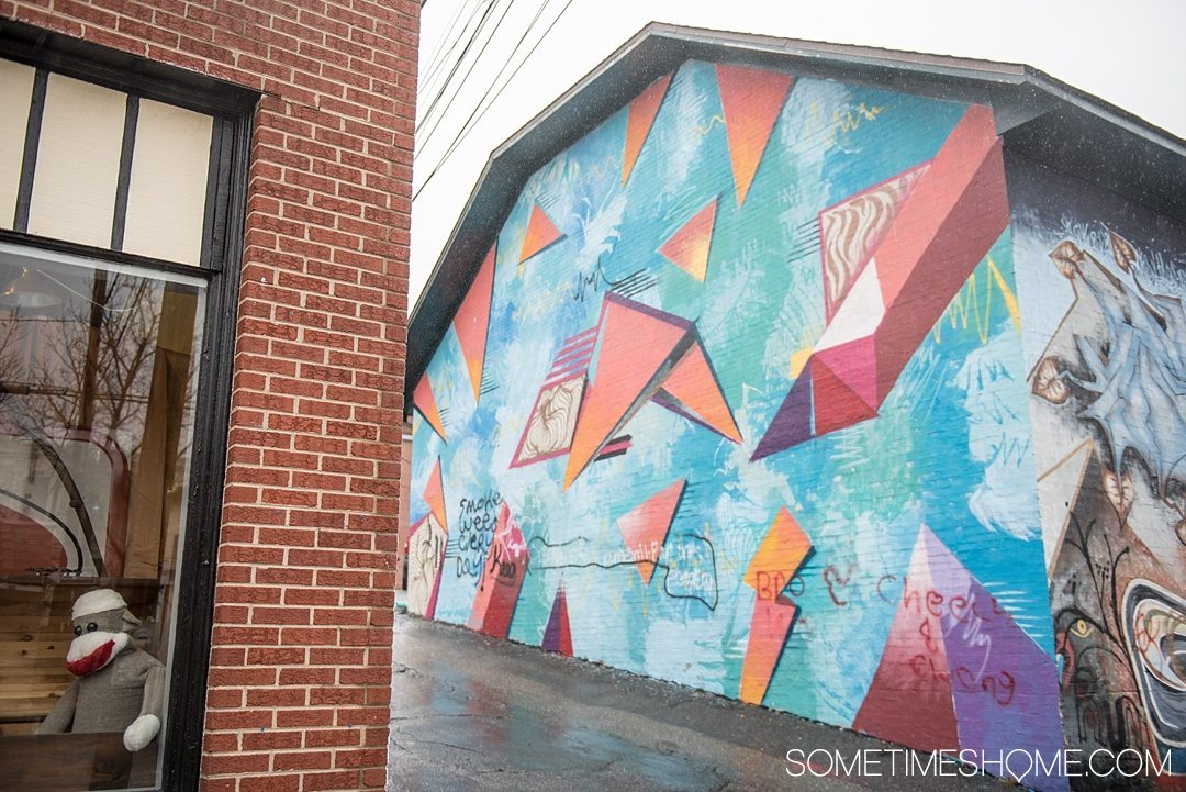 What to do on a rainy day in Boone, NC. Photos and activities on Sometimes Home travel blog. Picture of a mural downtown near The Local.
