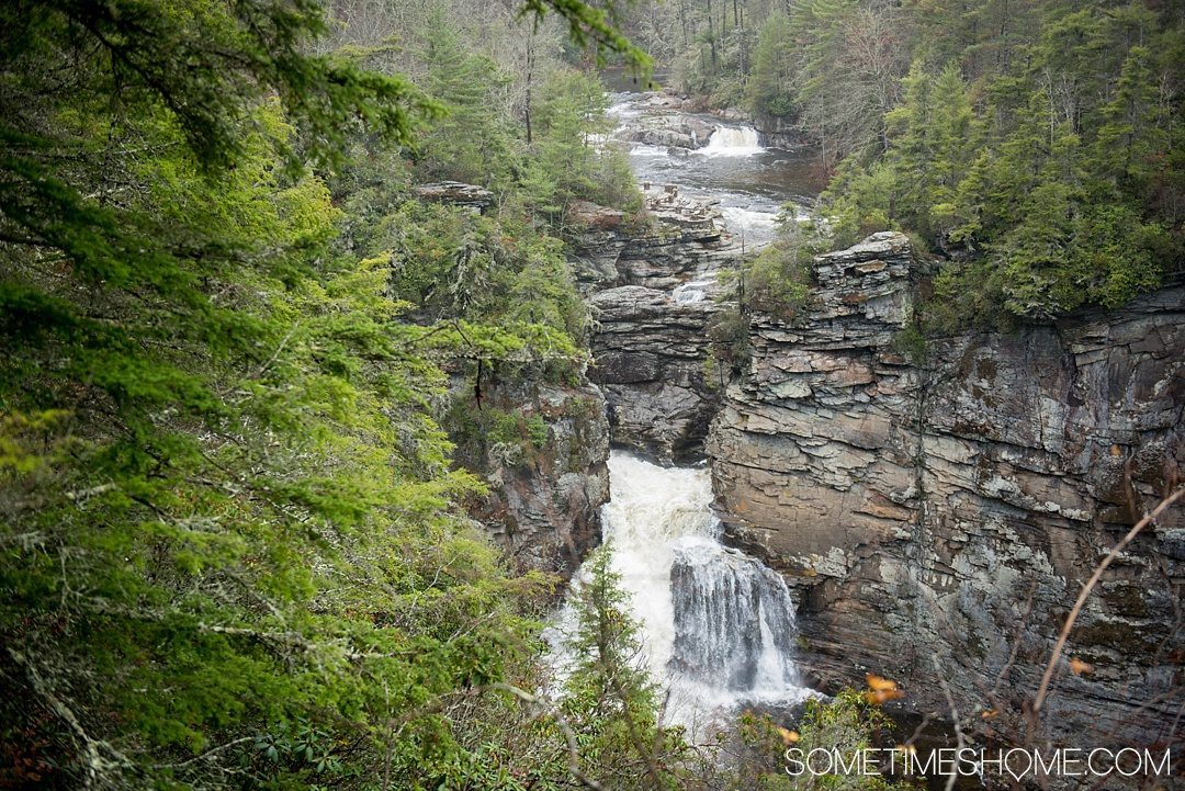 What to do on a rainy day in Boone, NC. Photos and activities on Sometimes Home travel blog. Picture at Linville Falls park.