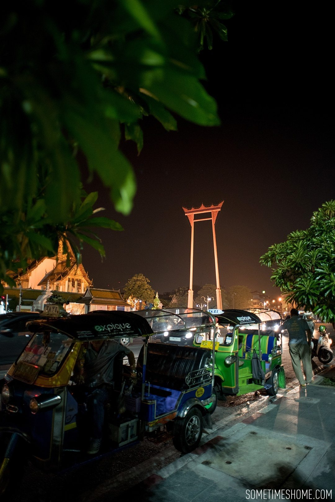 Photos of a Bangkok Night Tuk Tuk Tour You Have To Take in Thailand by Sometimes Home travel blog. Expique tour with pictures of The Giant Swing.
