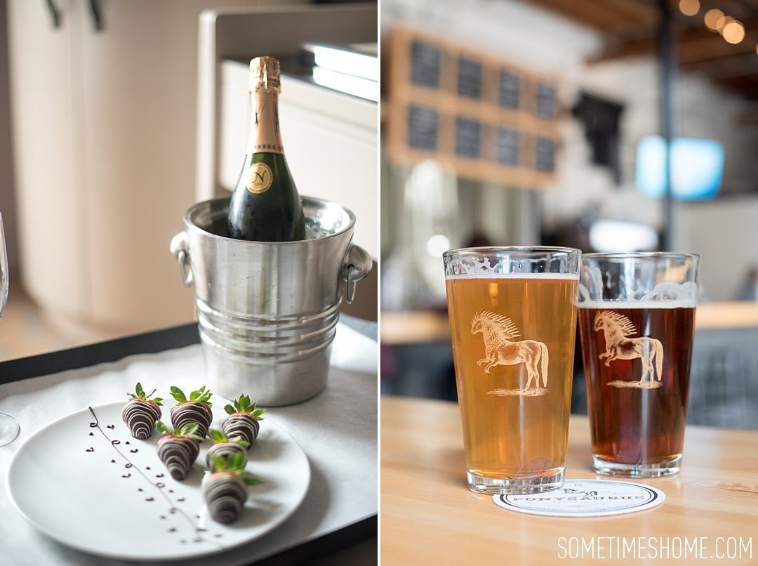 Incredible Downtown Durham Staycation Schedule. Sometimes Home travel advice. Photo of Ponysaurus brewery and chocolate covered strawberries and champagne from 21c Museum Hotel.
