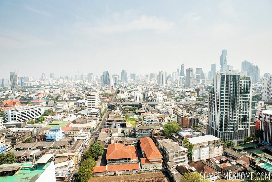 Fascinating Bangkok Place to Visit: Bangrok Tour, East Meets West on Sometimes Home travel blog. Photo of an aerial view of Bangrok.