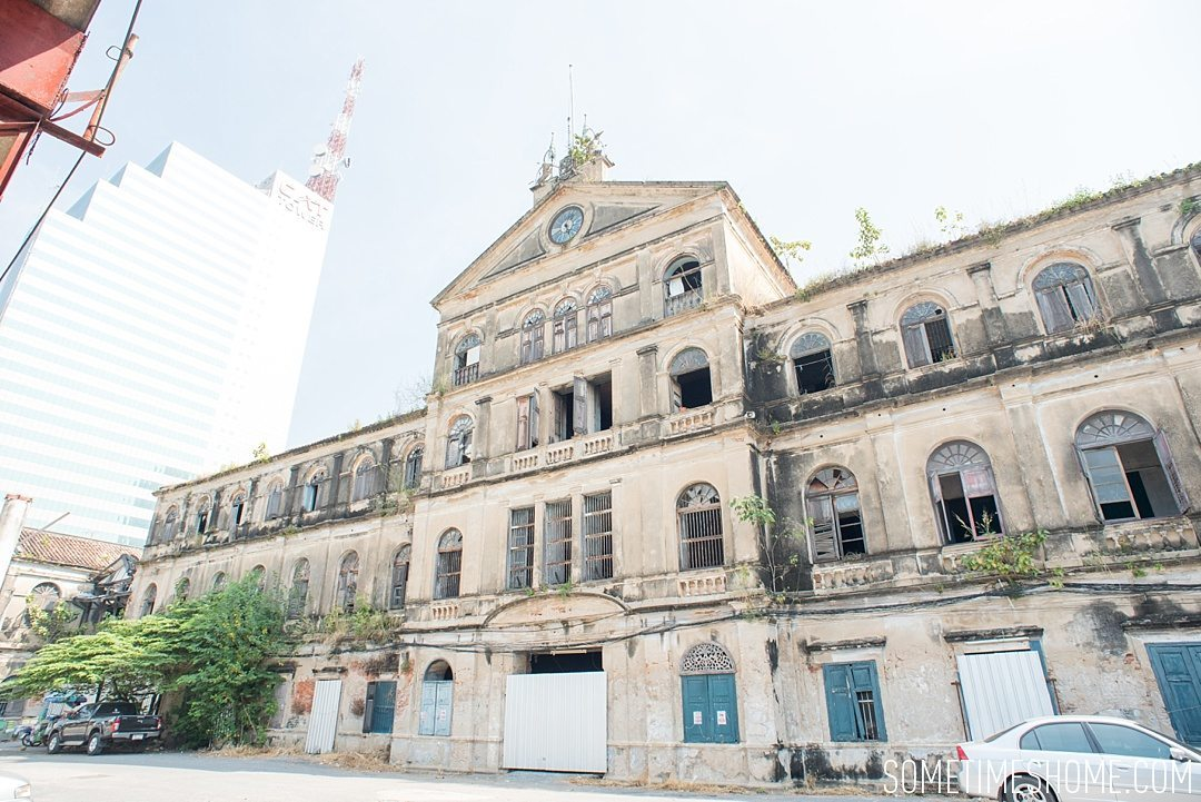 Fascinating Bangkok Place to Visit: Bangrok Tour, East Meets West on Sometimes Home travel blog. Photo of the old custom house, a very western building.