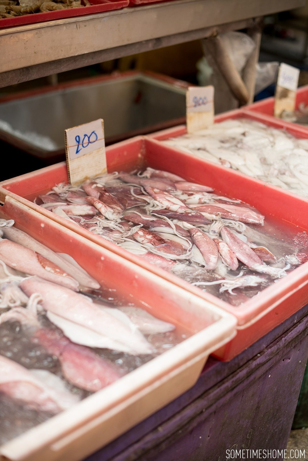 Fascinating Bangkok Place to Visit: Bangrok Tour, East Meets West by Sometimes Home travel blog. Photo of fish at the local market.