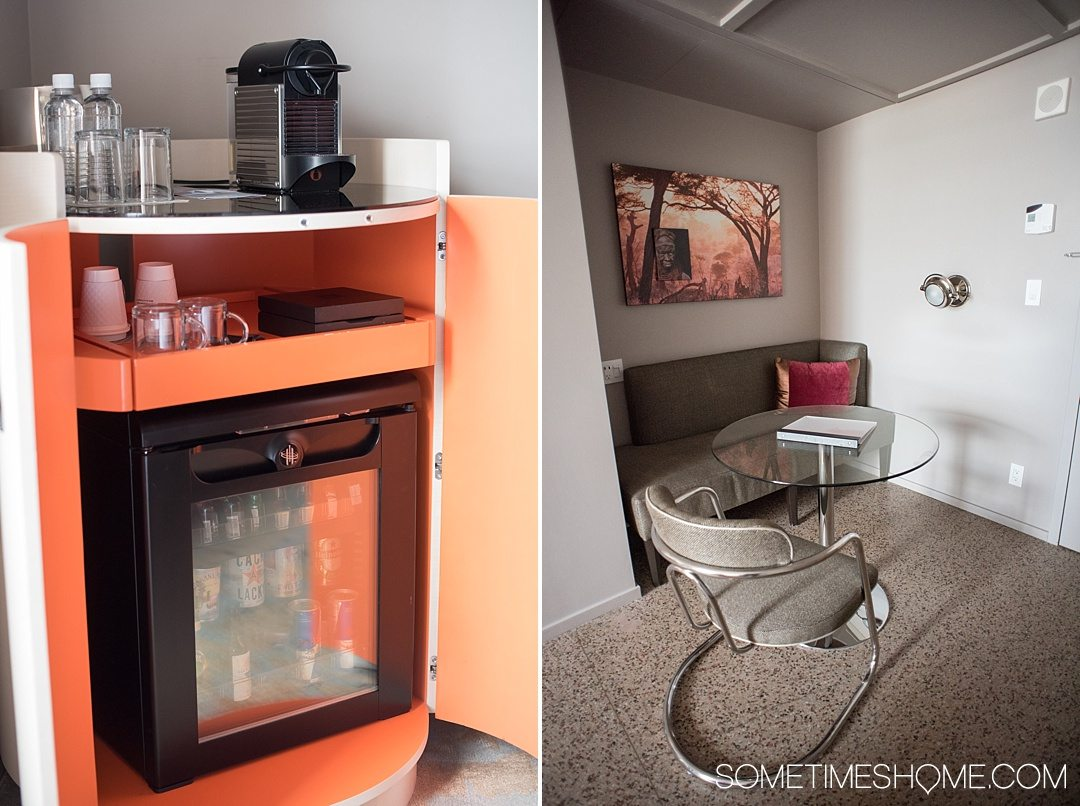 10 Reasons We Love 21c Museum Hotel in Durham NC and You Will Too including location in downtown Durham. Photos and information on Sometimes Home travel blog including hotel room amenities like a mini fridge, Nespresso coffee maker and breakfast nook.