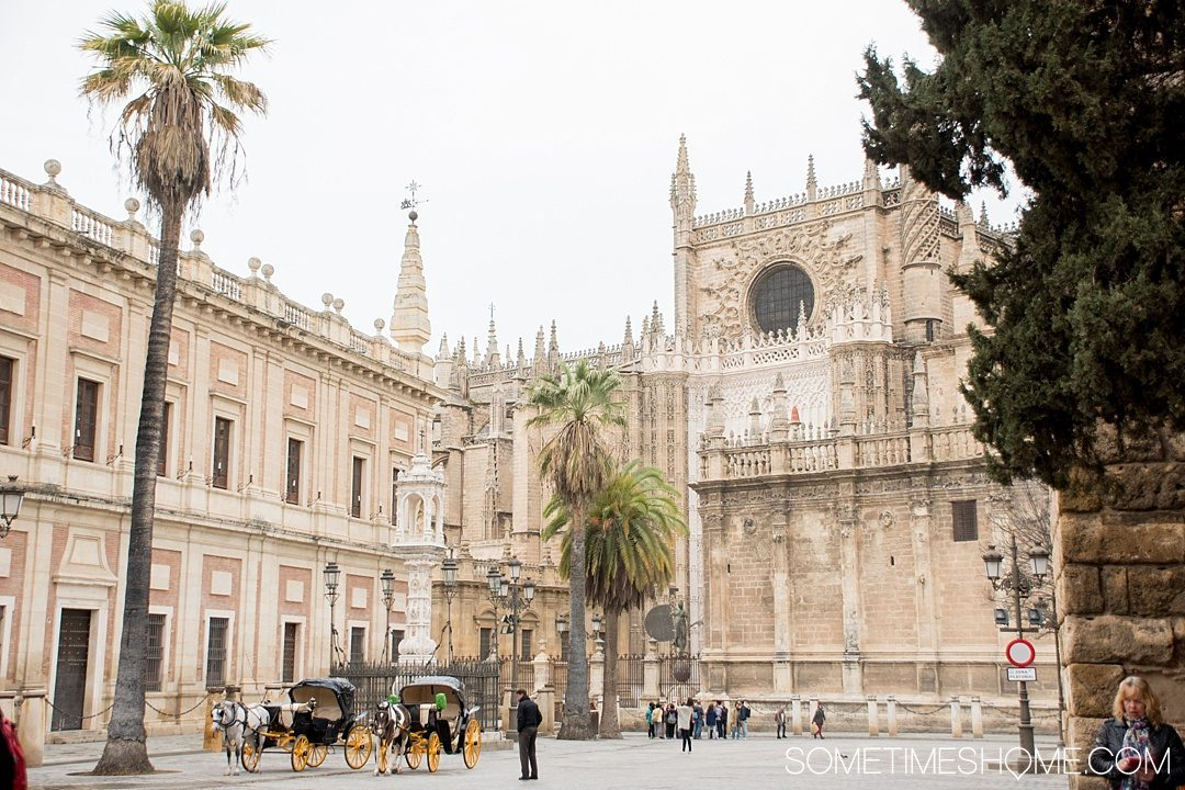 You Haven't Seen Seville Until You've Visited These 3 Sites, by Sometimes Home travel blog. Photo of Seville Cathedral's facade as seen from Plaza del Turinfo.