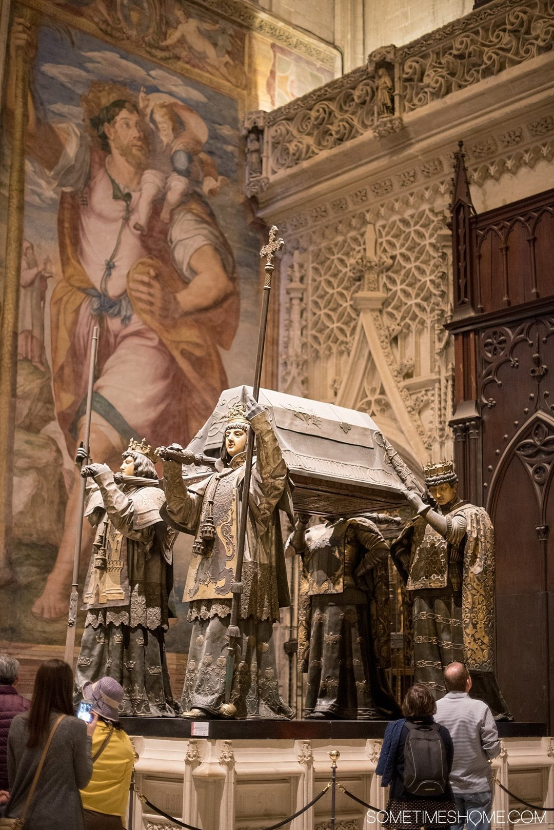 You Haven't Seen Seville Until You've Visited These 3 Sites, by Sometimes Home travel blog. Photo of Seville Cathedral's Christopher Columbus's tomb.