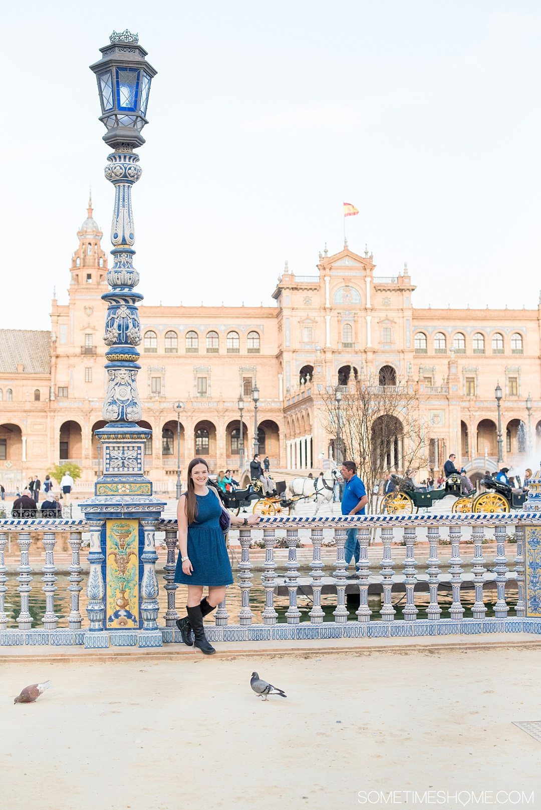 You Haven't Seen Seville Until You've Visited These 3 Sites, by Sometimes Home travel blog. Photo of Plaza de Espana's colorful handpainted ceramic railings.