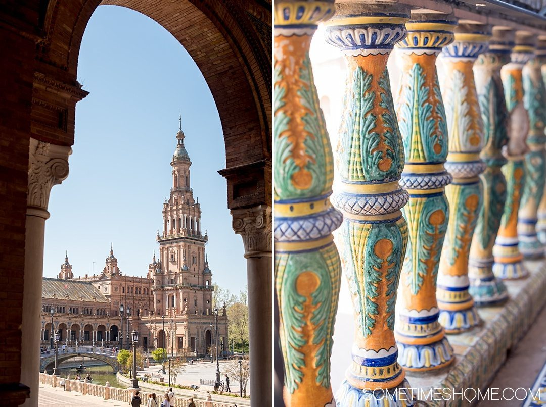 You Haven't Seen Seville Until You've Visited These 3 Sites, by Sometimes Home travel blog. Photo of Plaza de Espana's colorful handpainted tiles and architecture.