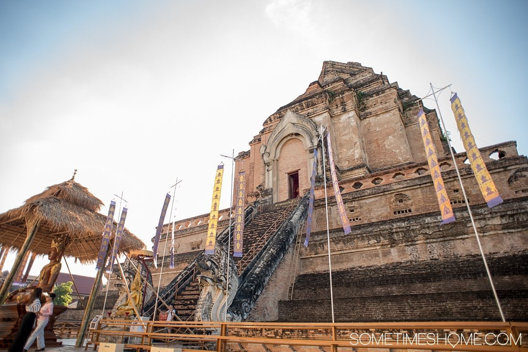 Fantastic Fall Destination Ideas Around the World on Sometimes Home travel blog. Picture of the old temple, Wat Chedi Luang, in Chiang Mai, Thailand by Mikkel Paige.