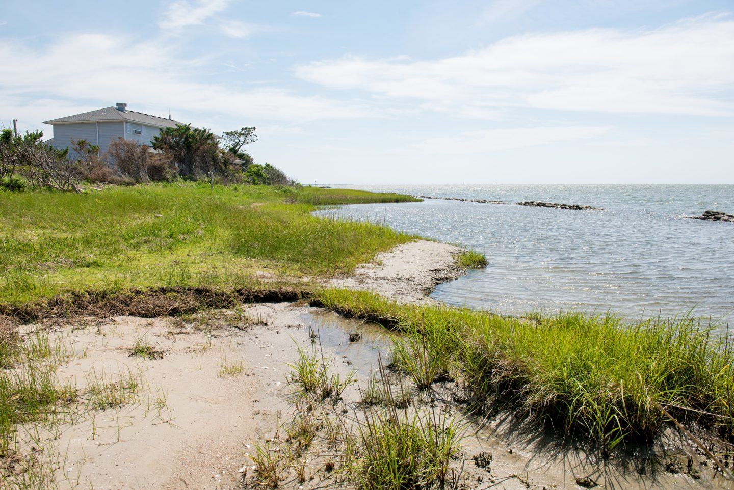 Essential First Visit Guide for Ocracoke Island in the Outer Banks, with a picture of a seashore and sea grass meeting the water and house in the distance.