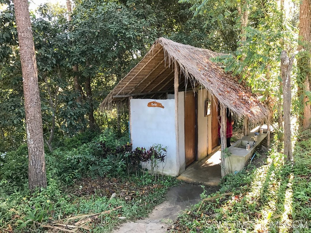 Vital FAQs Answered About Patara Elephant Farm in Chiang Mai. Information by Sometimes Home travel blog. A photo of the toilets on their property.