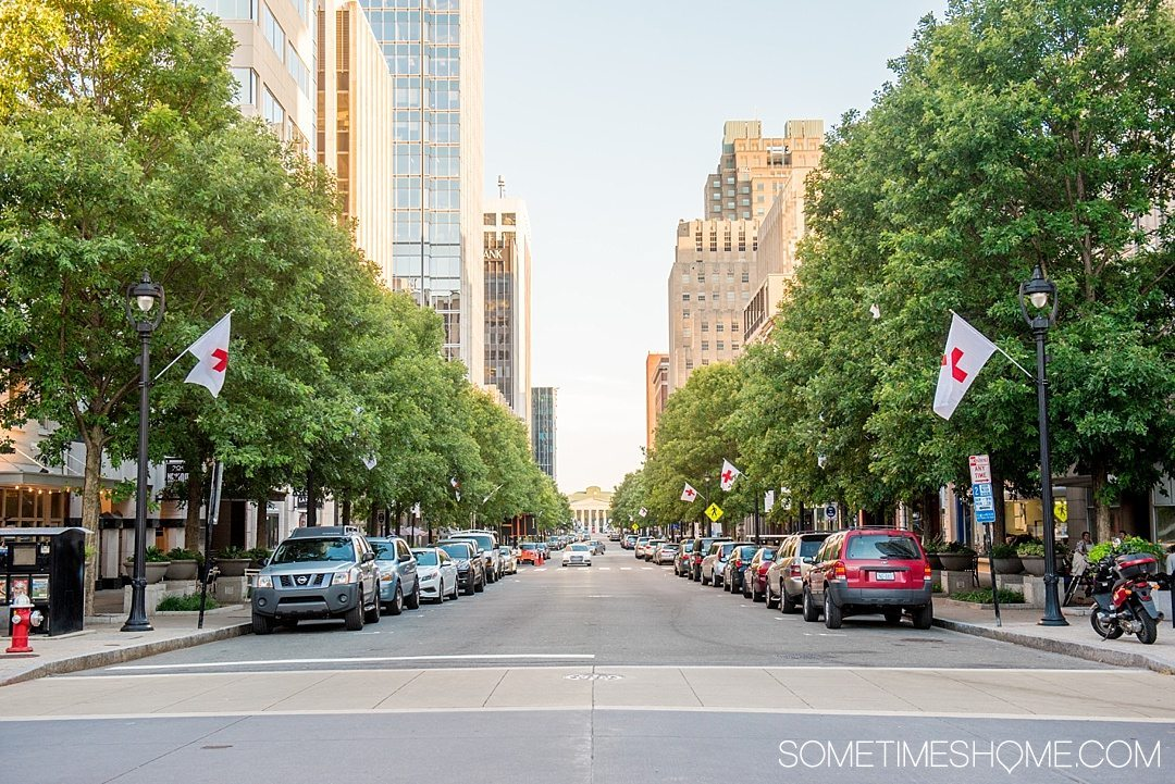 10 Best Downtown Raleigh Photography Spots on Sometimes Home travel blog. Photo of the capital city's main avenue, Fayetteville Street.