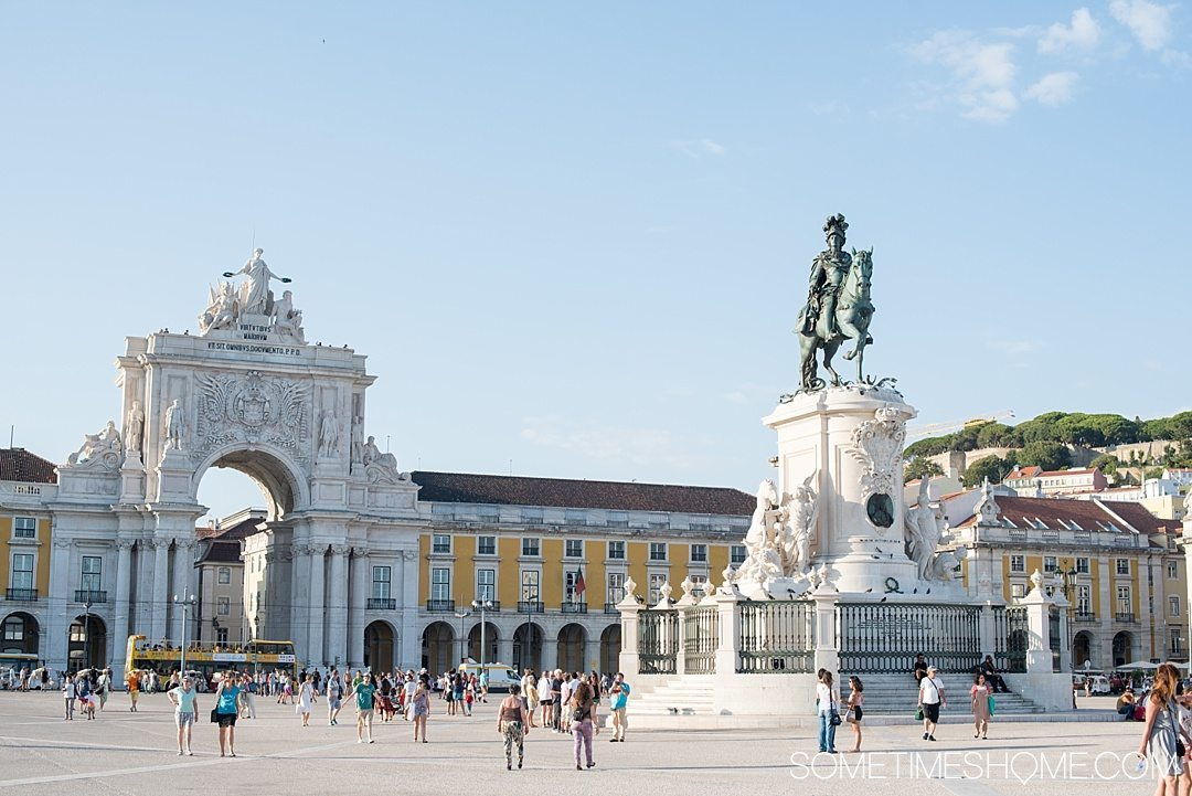 Why Lisbon is the Best City in Europe on Sometimes Home travel blog. Photo of Commerce Square.