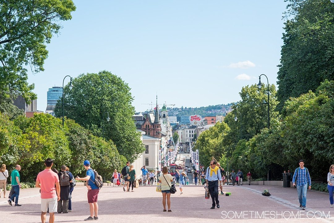 10 Not-to-Miss Sites in Oslo Norway by Sometimes Home travel blog. Photo of the view on Karl Johan's Gate famous, well known street.