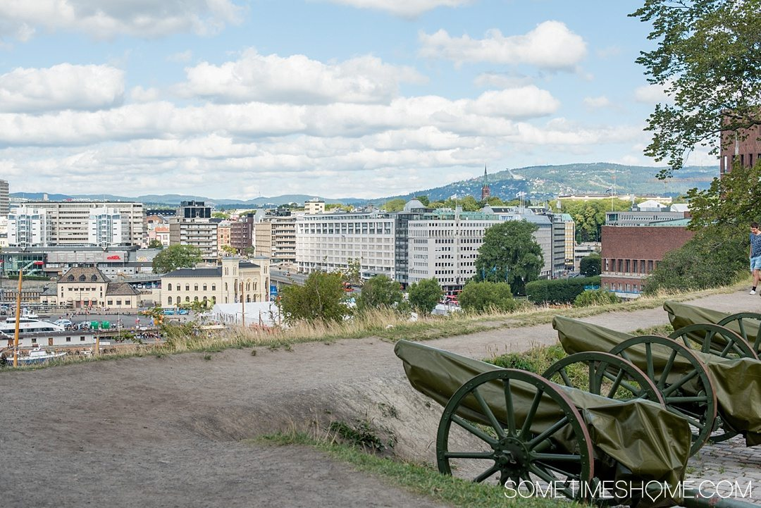 10 Not-to-Miss Sites in Oslo Norway by Sometimes Home travel blog. Photo of the view from on top of Askershus Fortress.