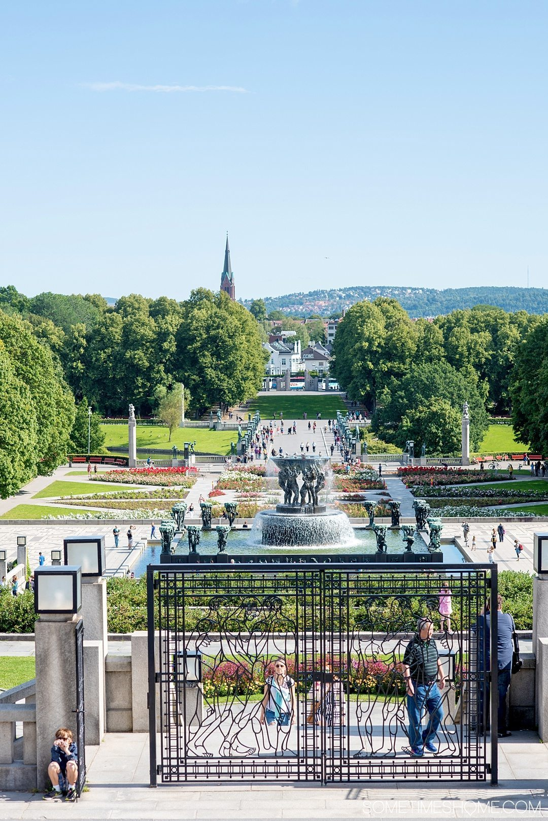 10 Not-to-Miss Sites in Oslo Norway by Sometimes Home travel blog. Photo of Vigeland Park in Frogner Park.