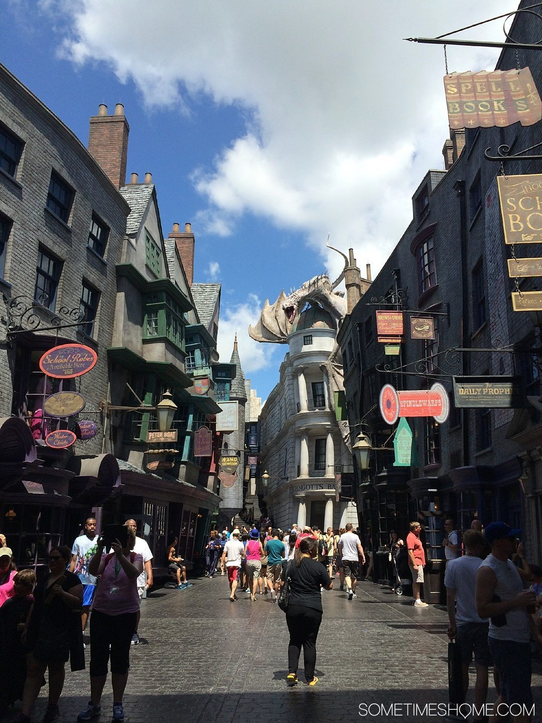 5 Mistakes to Avoid at the Wizarding World of Harry Potter in Orlando, Florida by Sometimes Home travel blog. Photo inside Diagon Alley.
