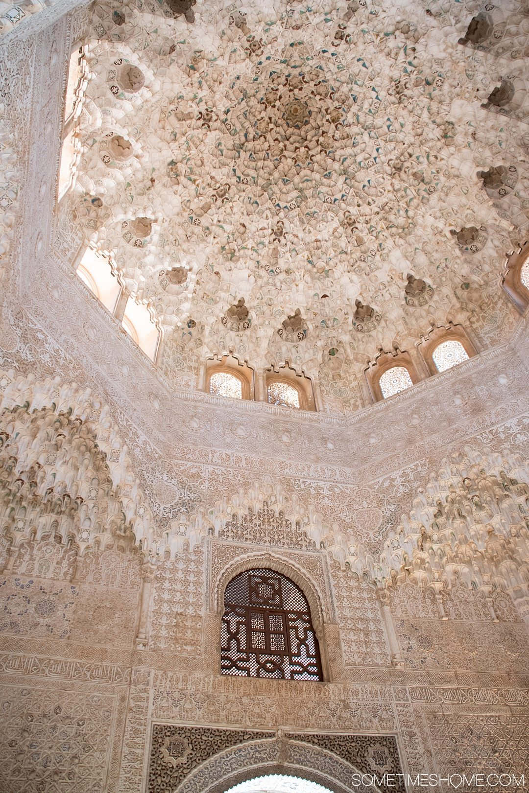 One Perfect Day in Granada Spain. Photos and itinerary on Sometimes Home travel blog. Picture of the Alhambra palace interior.