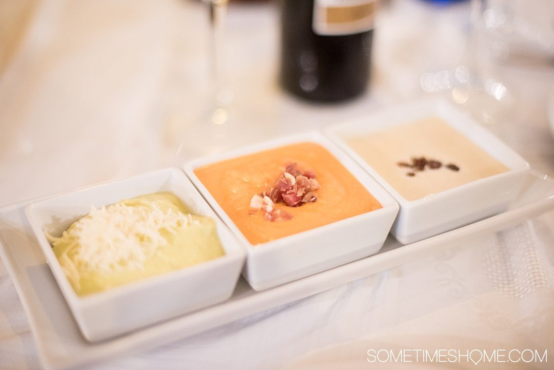 Eat Your Way Through Seville on Sometimes Home travel blog. Photo of three varieties of salmorejo.