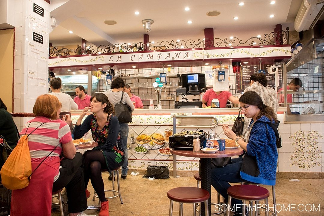 Best Thing I Ever Ate: Madrid, Spain. On Sometimes Home travel blog. Photos of a Calamares Bocadillo in Madrid at La Campana. (Calamari Sandwich)