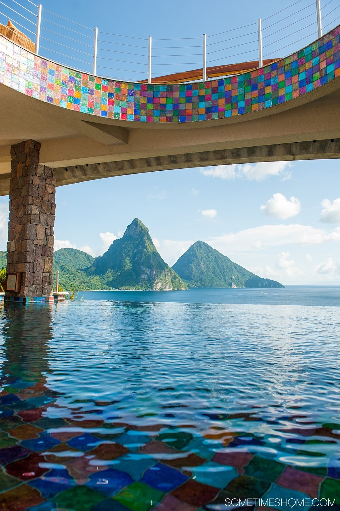 Your Questions Answered: Jade Mountain St. Lucia on Sometimes Home travel blog. Photo of the view from lunch at Jade Mountain Club.