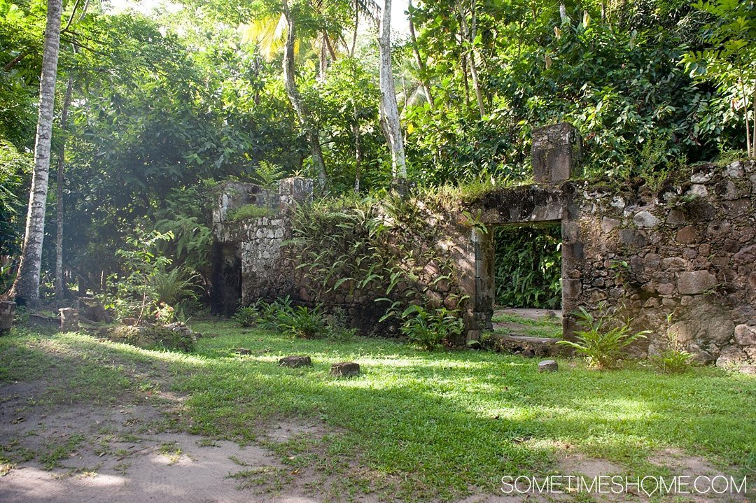 Your Questions Answered: Jade Mountain St. Lucia on Sometimes Home travel blog. Photo of the Jade Mountain beach ruins.