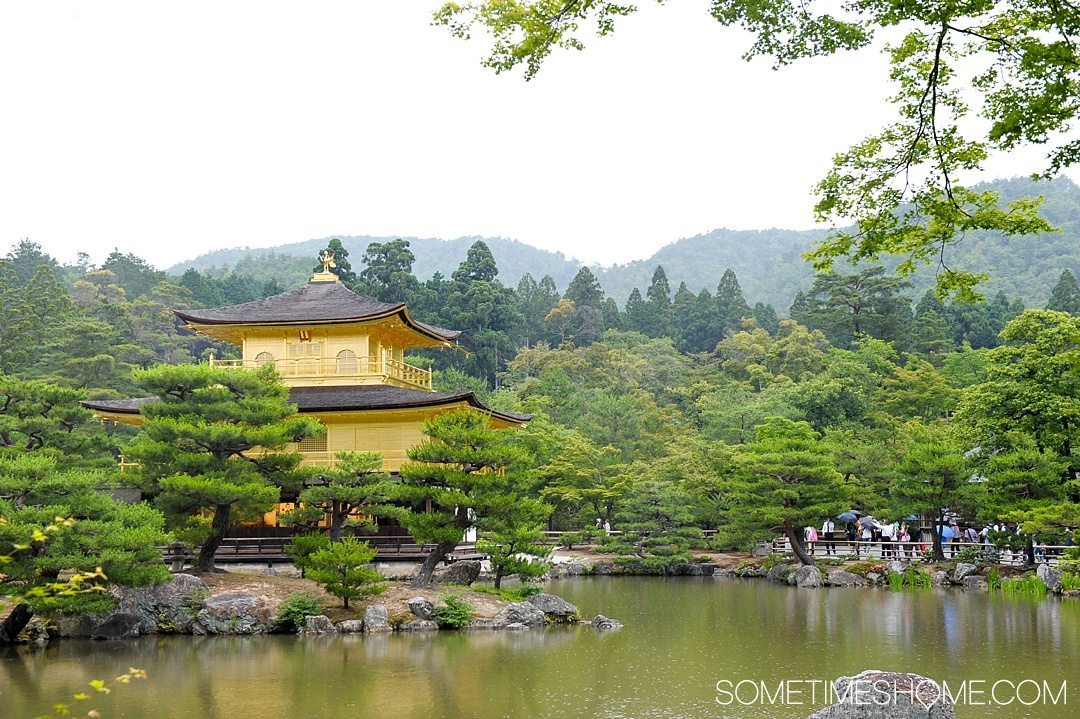 12 Inspiring Photos of Kyoto Japan on Sometimes Home travel blog. Picture of the Golden Temple, Kinkaku-ji, during summer.