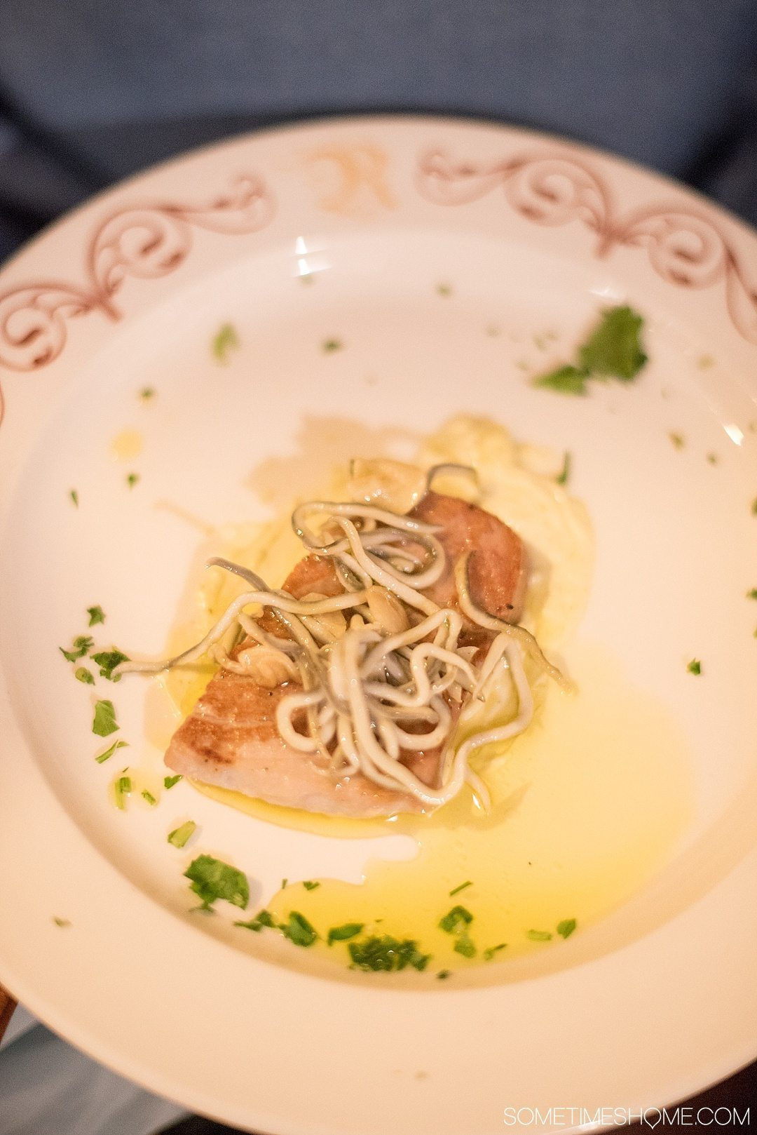 Eat Your Way Through Seville on Sometimes Home travel blog. Photo of tuna with imitation angulas, called Gulas.