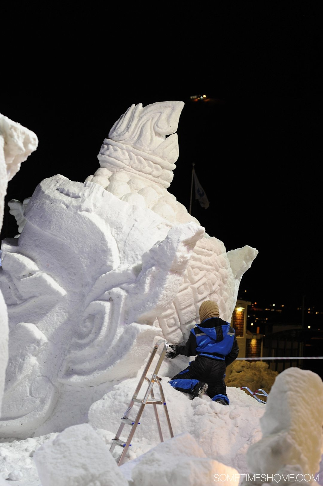 Reasons Why January is the Best Time to Visit Norway with a photo of an ice sculpture competition in Tromso.