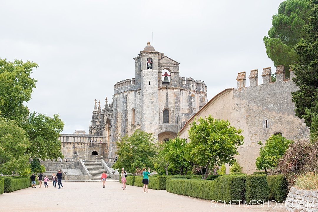 Amazing Day Trip from Lisbon to Tomar Portugal. Photos, tips and advice on Sometimes Home travel blog. Picture the exterior of Castelo de Tomar.