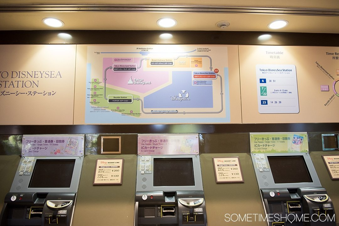 The Ultimate First-Timer's Guide to Tokyo DisneySea on Sometimes Home travel blog. Photo of the monorail ticket area at Tokyo Disney Resort.