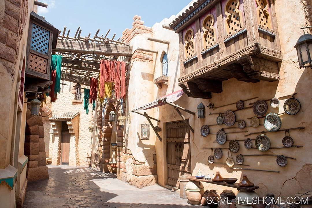 The Ultimate First-Timer's Guide to Tokyo DisneySea on Sometimes Home travel blog. Photo of Moroccan inspired alley in the Arabian Coast land.