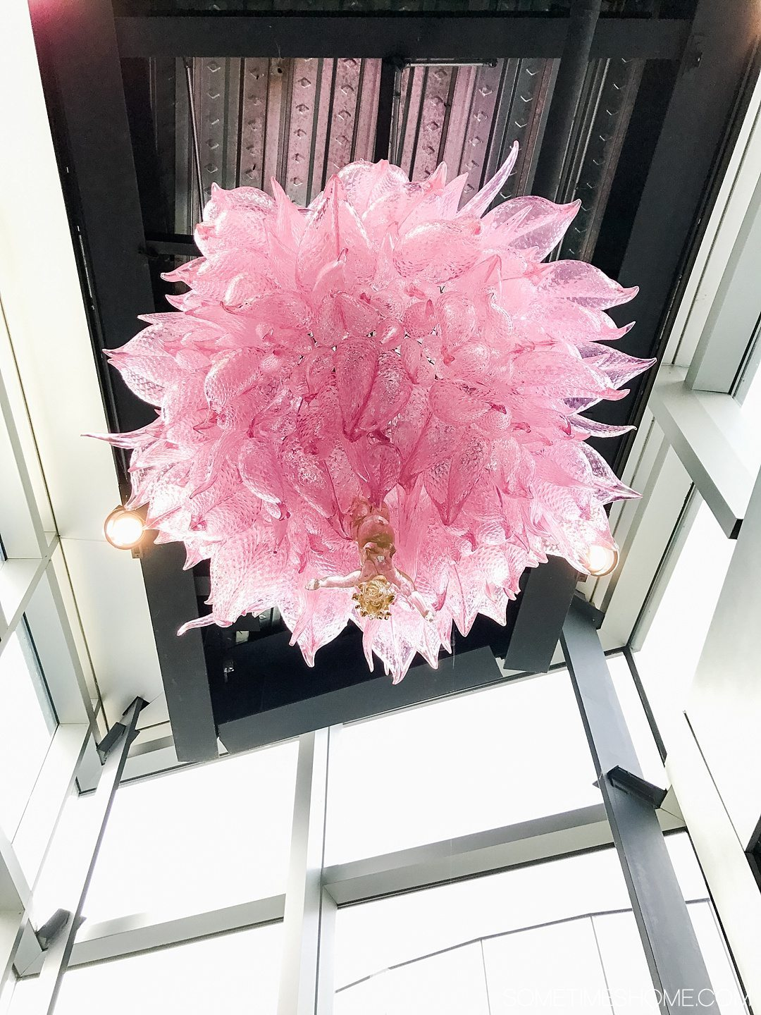 Corning Museum of Glass gift shop, hours, exhibits, photos and more on Sometimes Home travel blog. Also links to an article of what to do in Corning, New York in the Finger Lakes region. Picture of a hanging pink Chihuly glass sculpture.