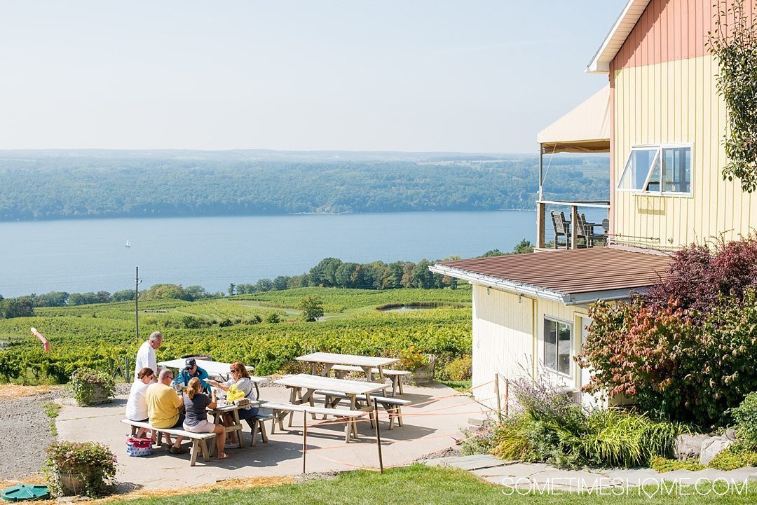 Distillery in the Finger Lakes New York near Wineries on Sometimes Home travel blog. Photo of the view at Atwater winery and vineyards.