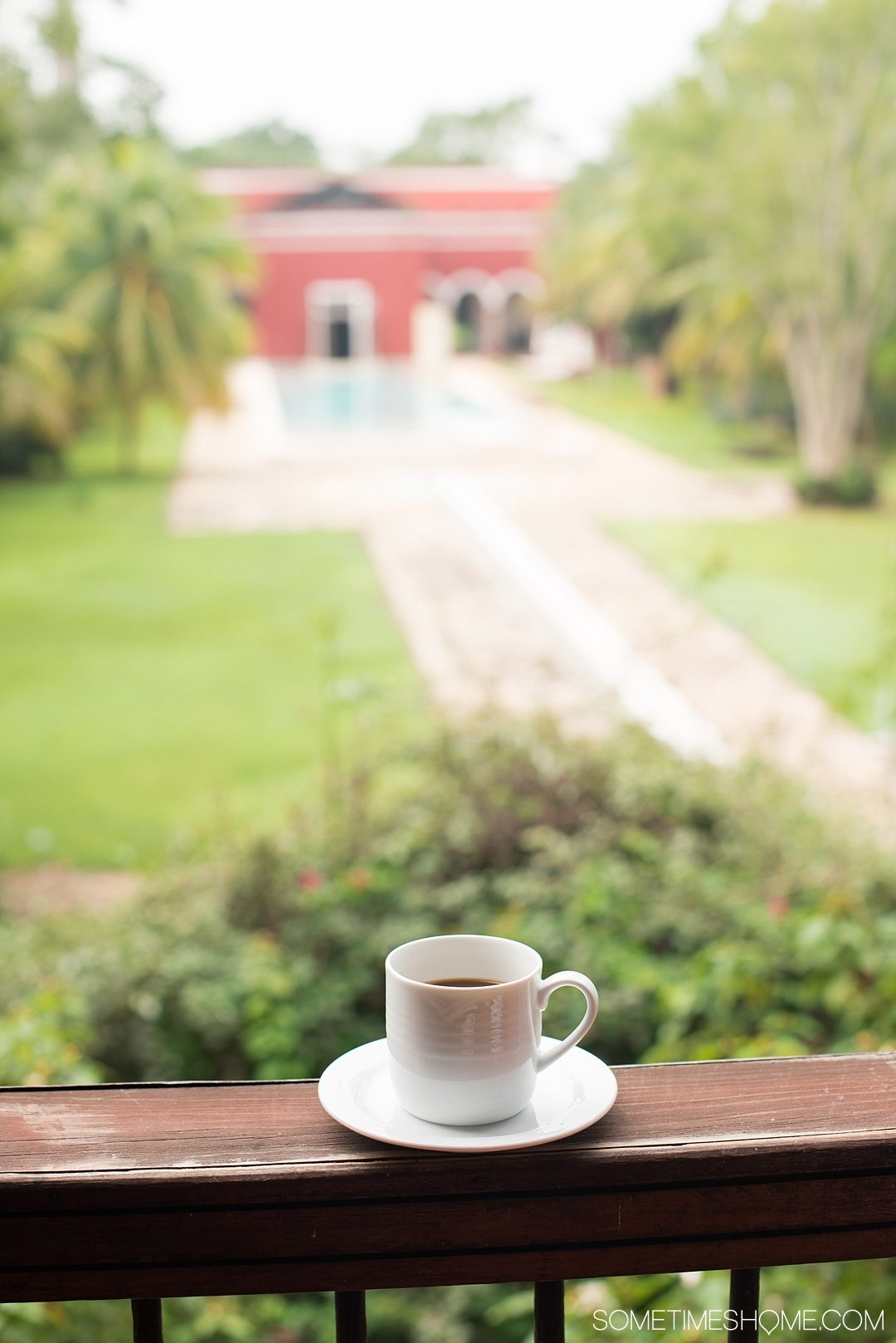 Hacienda Temozon Review and Photos on Sometimes Home travel blog. Picture of morning coffee at the Starwood resort hotel restaurant.