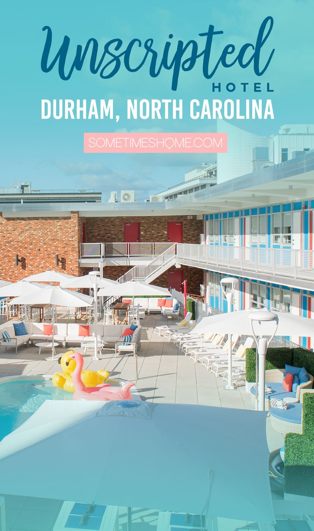 Unscripted Durham Hotel Review on Sometimes Home travel blog. Extensive photos and advice for this mid-century modern designs hotel in North Carolina.